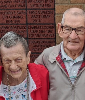 Aileen, left, and Ron Hiltner were recently recognized with a block on Utica's Wall of Honor.