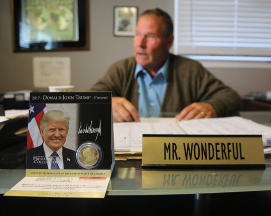 Hank McCann, chair of Kent County Republican Party and  former two-star general in Delaware National Guard at his desk in his Kent County Republican Party office in Dover, Delaware.