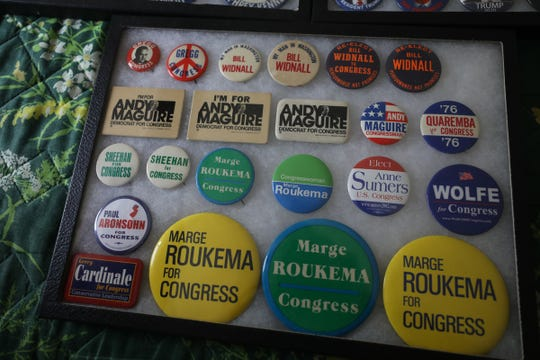 John Gregg, formerly of Ridgewood and son of Charles Gregg, a Democratic liberal who lost a bid for Congress in 1968. Gregg supported Trump in 2016 but considers himself an independent. He collects political memorabilia like these buttons from candidates that include former north jersey Congresswoman Marge Roukema.