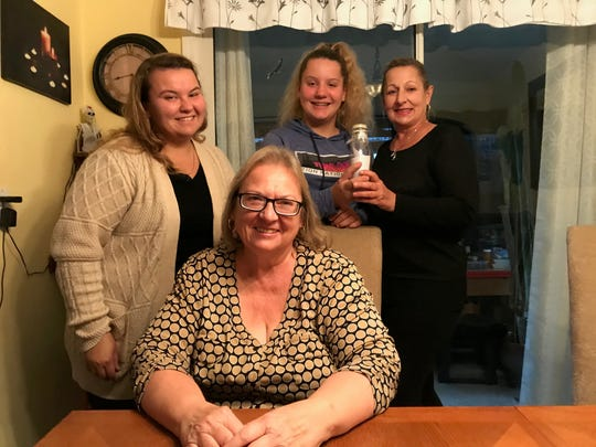 Clifton mom Lali Romanek with her daughter Holly, sister Irena Wojtowicz and grandniece Olivia in her home as they recounted this summer's message in bottle surprise.