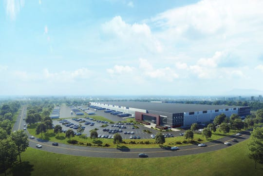 This rendering shows a possible vision for the Kingsland Meadowlands development. The project will comprise a six-building industrial complex as well as a proposed solar farm and 400 acres of preserved wetlands.