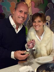 Anton Schermer with his wife Sheryl at Stern & Bow, where he found a small pearl in his oyster