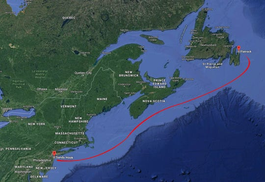 Photo illustration of the path the bottle traveled from Sandy Hook, NJ to Flatrock, New Foundland.