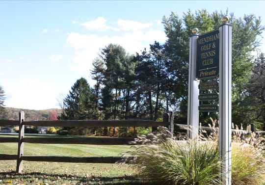 Entrance to the Mendham Golf and Tennis Club on Golf Lane in Mendham.