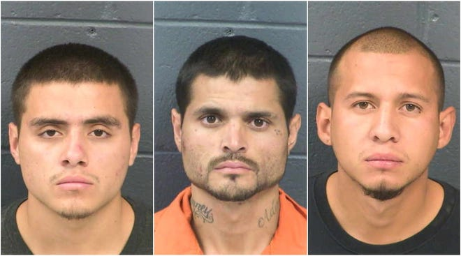 From left, Damian Licon, 19,  Sonny Joe Licon, 28, and Jesse J. Gonzalez, 25, were arrested Oct. 22, 2019, at 6 p.m., in connection with an alleged dirve-by shooting in Sunland Park, NM, on Sunday, Oct. 20, 2019.