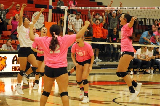 Artesia celebrates it's 5-set win over Portales on Oct. 22, 2019. Portales had won its last 15-consecutive matches.