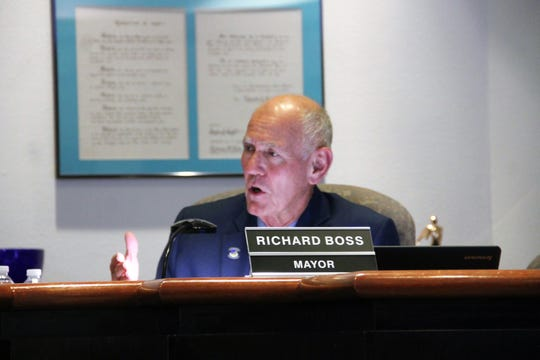 Alamogordo Mayor Richard Boss at the regular Alamogordo City Commission meeting Oct. 22.