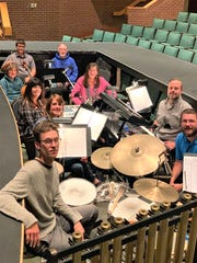 """Musical director Sheldon Pickering, second from right, rehearses with the orchestra he has assembled for the Pinedale (Wyoming) Community Theatre production of """"Beauty and the Beast."""""""