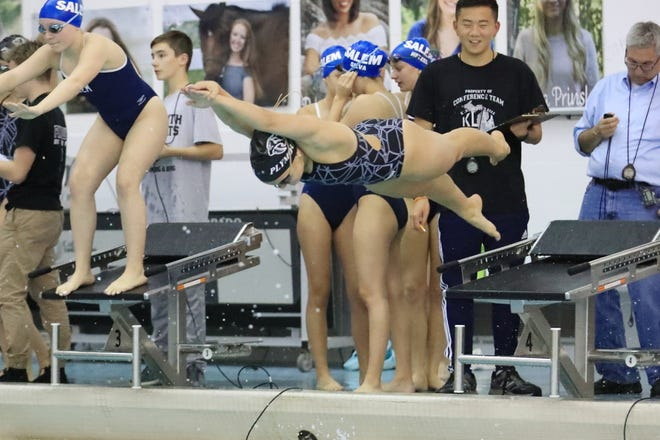 The Plymouth swimming and diving team defeated Salem on senior night.