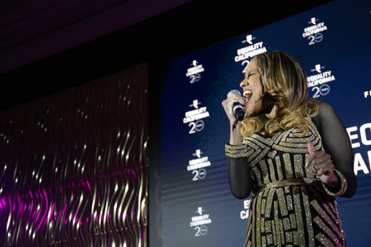 Grammy- and Tony Award-winning Broadway legend Jennifer Holliday performs at Equality California's 2019 Palm Springs Equality Awards.