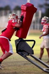 College of the Desert linebacker Timothy Jones practices at the community college in Palm Desert, Calif., on October 22, 2019.