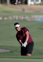 Rancho Mirage's Lehapi Taungahihifo hits from a bunker on the 10th green of the La Quinta Resort Golf Course during the DEL finals in La Quinta, Calif., on October 23, 2019.