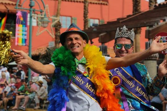Matthew Stoker and Tom Oliver enjoy their grand marshal duties at Greater Palm Springs Pride in 2018.