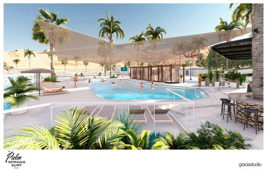 Palm Springs Surf Club is proposed to fill the former Wet N Wild water park in Palm Springs. Renderings of the project were shown at a city planning commission meeting on Wednesday, Oct. 23.