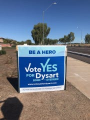 A sign supporting Dysart's ballot requests stands at the corner of Bullard Road and Sweetwater Drive.