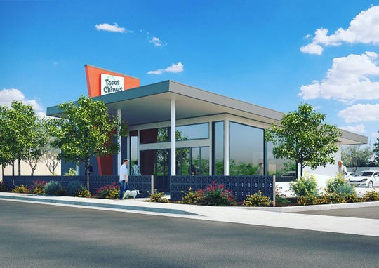 A rendering of the future Tacos Chiwas building, which will be located approximately 230 feet east of the southeast corner of 19th Street and McDowell Road in central Phoenix.