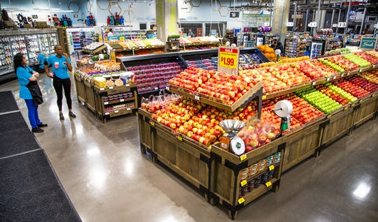 Work continues inside the new Fry's grocery store at Jefferson and First streets in downtown Phoenix on Oct. 23, 2019.  The store opened at 8 a.m., becoming the first full-size grocery store in the downtown area.