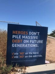 A sign opposing Dysart's ballot requests stands at Bullard Road and Sweetwater Drive, near the entrance to Legacy Traditional School in Surprise.