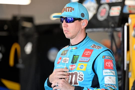NASCAR driver Kyle Busch (18) looks on during a practice on Oct. 11 at Talladega Superspeedway.