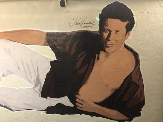 A large mural of David Hasselhoff greets those who enter The David Hasselhoff Museum at The Circus Hostel in Berlin, Germany