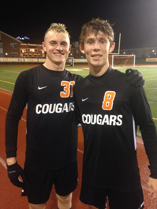 Senior mids Matt Hines and Josh Mark were key contributors to Palmyra's district win over Reading on Tuesday night.