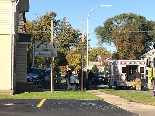 Rescue crews responded to a vehicle hitting a building in the 1000 block of Lapeer Avenue in Port Huron Wednesday morning.