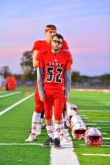 Anchor Bay senior Jeffery Cesta got to stand first in line for the national anthem during a senior night football game against Utica Stevenson on Friday, Oct. 18, 2019.