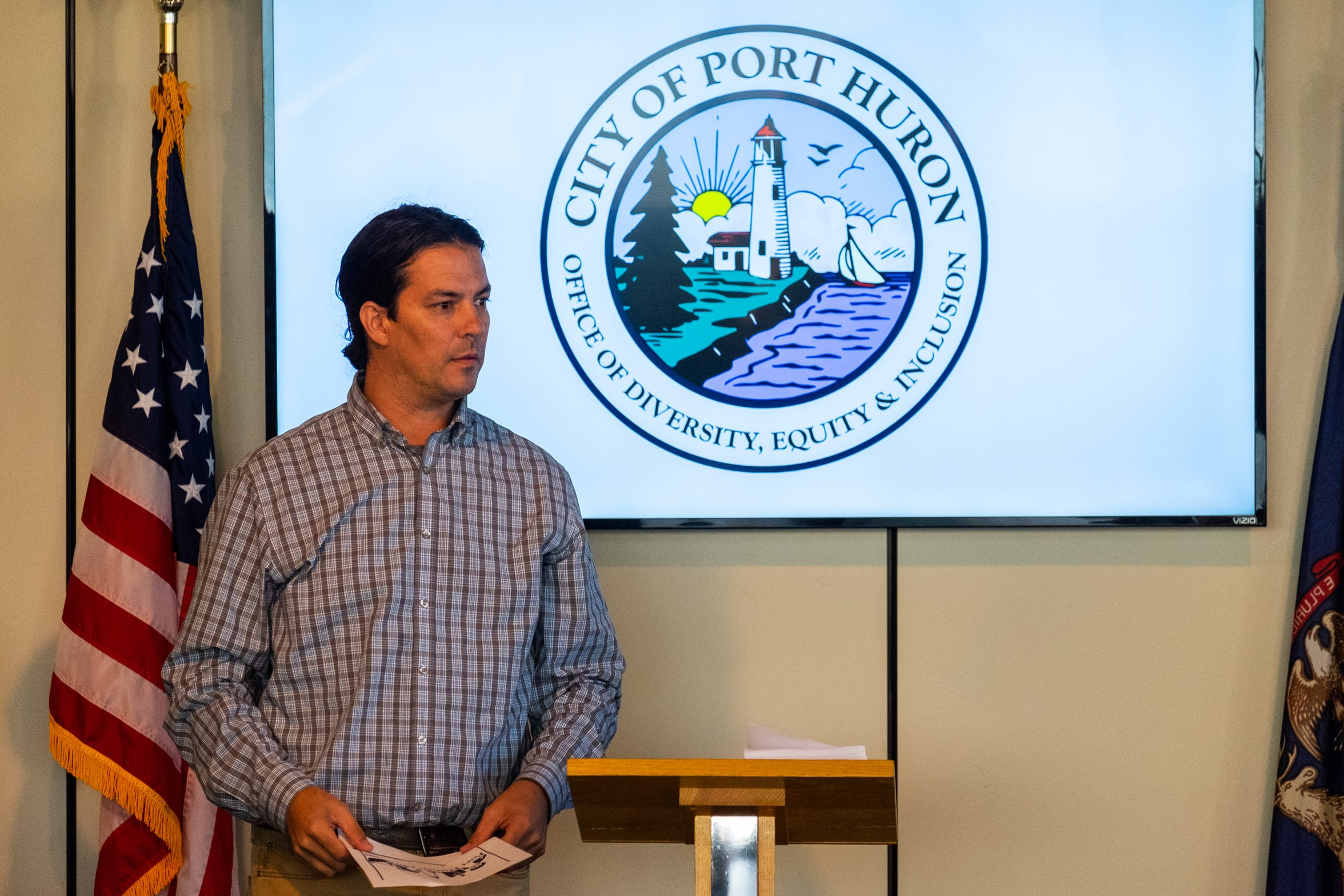 Josh Whiting, with the Blue Water Indigenous Alliance, speaks at a press conference to announce the office of diversity, equity and inclusion Wednesday, Oct. 23, 2019, in Port Huron.