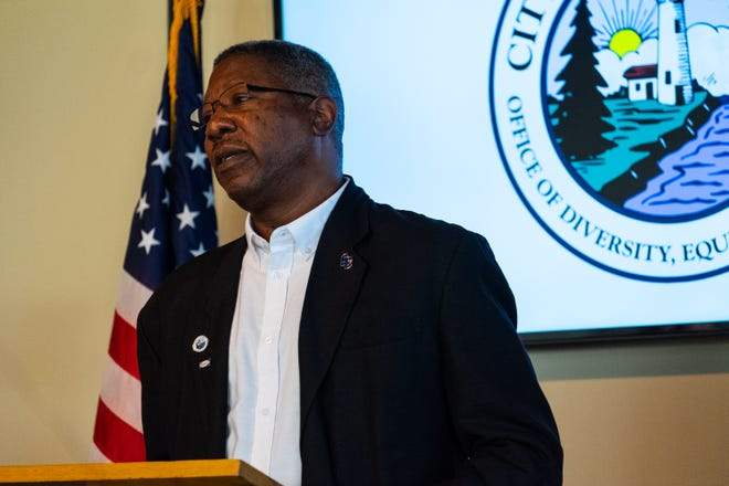 Kevin Watkins, president of the Port Huron chapter of the NAACP, speaks at a press conference to announce the office of diversity, equity and inclusion Wednesday, Oct. 23, 2019, in Port Huron. Watkins will be speaking during St. Clair County Community College's virtual MLK celebration, which will be posted to the Office of Diversity, Equity and Inclusion's website Monday.