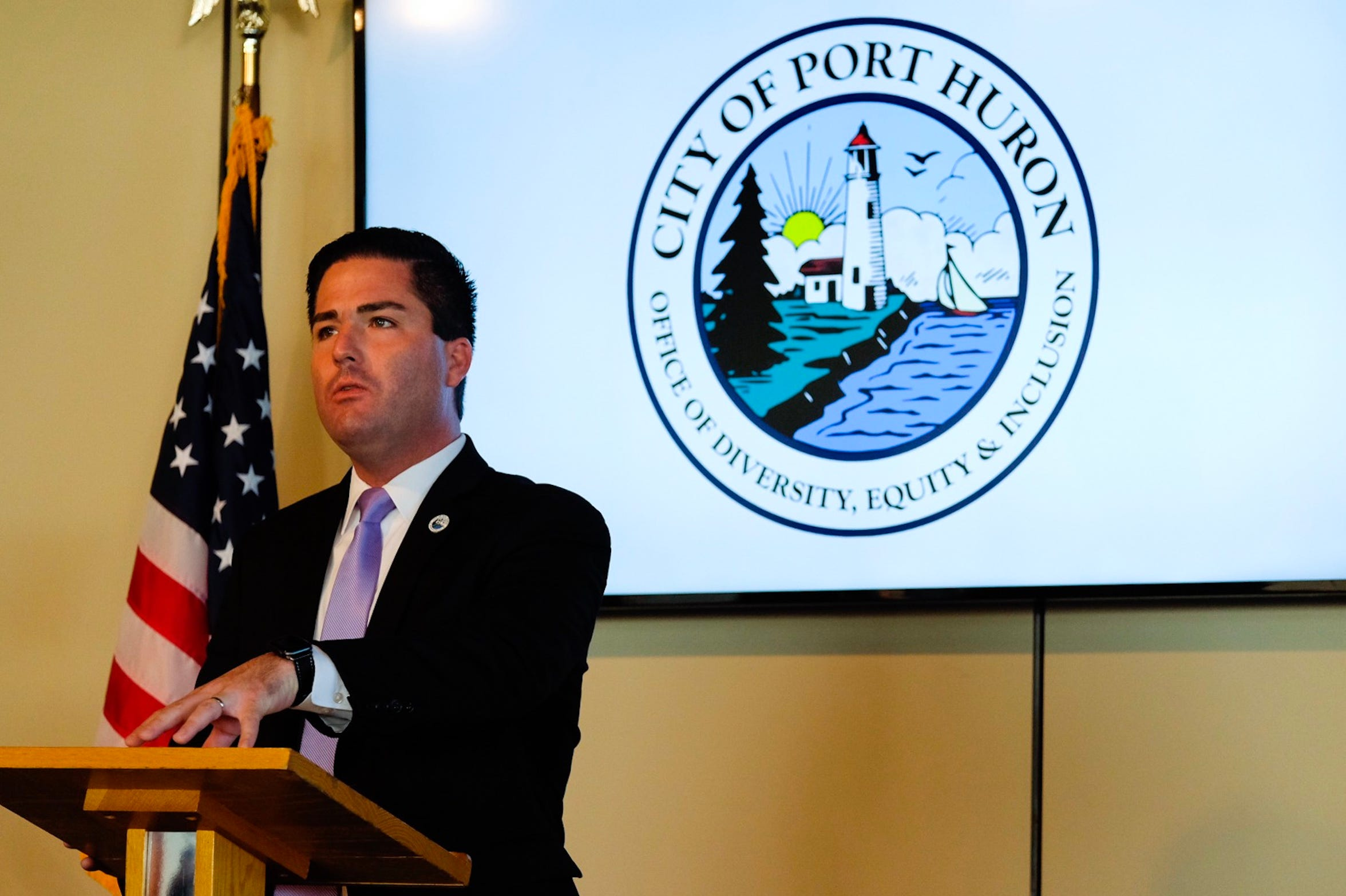 Port Huron City Manager James Freed speaks during a press conference Wednesday morning.