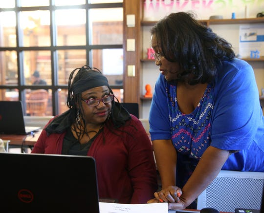 Betty Cooper, one of the Adriance Memorial Library's technology instructors speaks with Jocelyn Johnson -Kearney following a computer class in the library's Marcotte computer lab in the City of Poughkeepsie on October 23, 2019.
