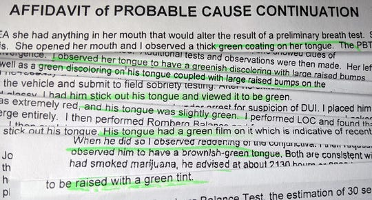 "The York (Pa.) Daily Record/Sunday News analyzed more than 1,300 DUI cases that reached the York County Court of Common Pleas in 2018 and found at least 28 that mentioned phrases such as ""green coating,"" ""green film"" and ""green tint."" Some of the affidavits of probable cause that reference the observation are pictured in this photo illustration."