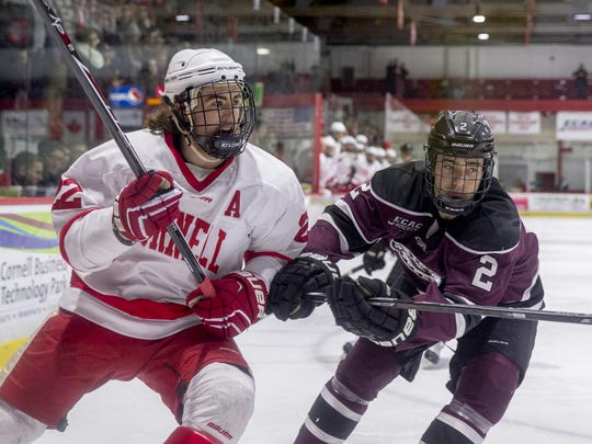 Cornell senior center Cole Bardreau, skates against  Union in the ECAC Hockey playoffs. Bardreau made his NHL debut for the New York Islanders on Saturday night.
