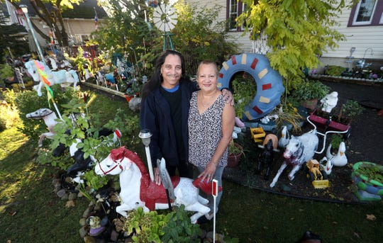 Junior and Carmen Rodriguez in the yard of their home on North St. where they have more than 107 carousel horses.  The Rodriguez's began collecting them 20-years-ago and now people stop by the house to drop off various horse ornaments.