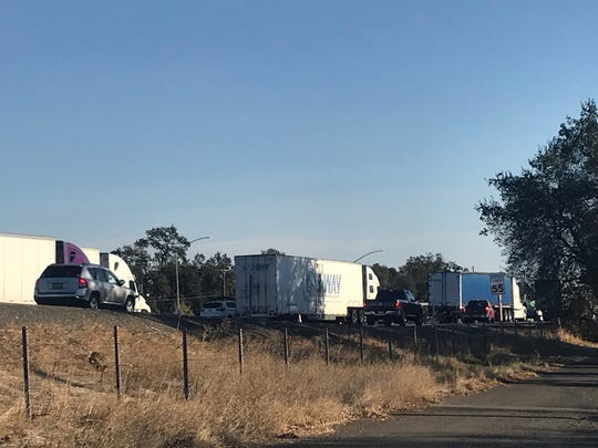 Traffic backs up on Interstate 5 in south Redding after a motor home stalled nearby.