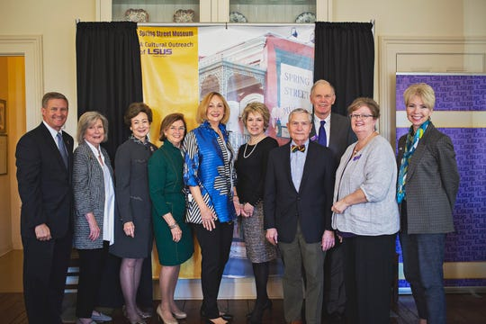 Joining the LSU Foundation and LSU Shreveport for the transfer of the Spring Street Museum on Wednesday, Oct. 23 were  state Sen. Barrow Peacock, R-Bossier City; Charlotte Walters, Susan Hardtner and Susan Cage of the Colonial Dames of America; Lissa Grounsell of the Friends of the Spring Street Museum; LSUS professor Dr. Cheryl White; Steve Yancey, president of the LSUS Foundation board; LSUS Chancellor Larry Clark; LSUS Provost Dr. Helen Taylor; and Liz Swaine, executive director of the Shreveport Downtown Development Authority.