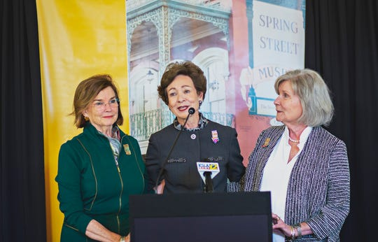 From left, Susan Cage, Susan Hardtner and Charlotte Walters, members of the Shreveport Chapter of the National Society of Colonial Dames of America, discuss the group's decision to donate the Spring Street Museum to the LSUS Foundation and LSU Shreveport.