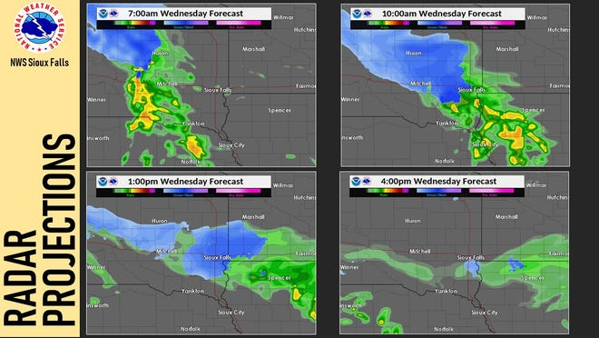 The National Weather Service is predicting rain to change to snow over the Sioux Falls area by about 1 p.m. Wednesday, Oct. 23, 2019.