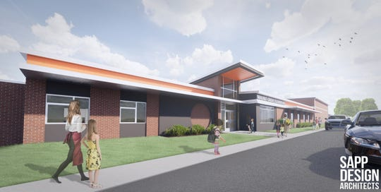 A rendering from Sapp Design Architects showed what the exterior of the new elementary will look like if the tax levy increase is approved Nov. 5.