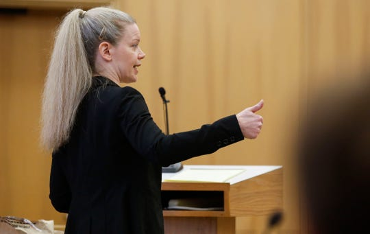 Wisconsin Assistant Attorney General Annie Jay delivers her closing argument in Jason Sypher's homicide trial on Wednesday, October 23, 2019, the Portage County Courthouse in Stevens Point, Wis. Sypher was convicted on Wednesday of murdering and hiding the body of his wife, Krista Sypher, who disappeared in March 2017 and has never been found.