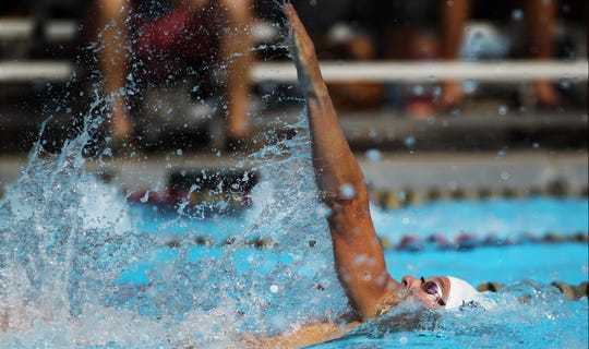Maclay senior Wade Eastman competes in the District 1-1A swimming and diving meet at FSU's Morcom Aquatics Center on Tuesday, Oct. 22, 2019.