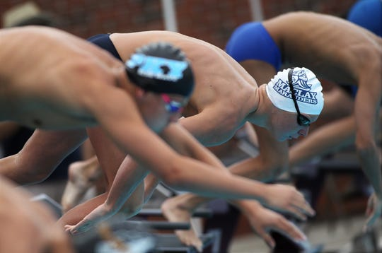 Maclay's Stuart Higdon competes in the District 1-1A swimming and diving meet at FSU's Morcom Aquatics Center on Tuesday, Oct. 22, 2019.