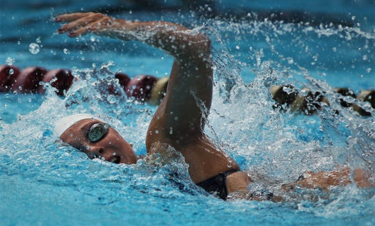 Maclay freshman Meg Howell competes in the District 1-1A swimming and diving meet at FSU's Morcom Aquatics Center on Tuesday, Oct. 22, 2019.