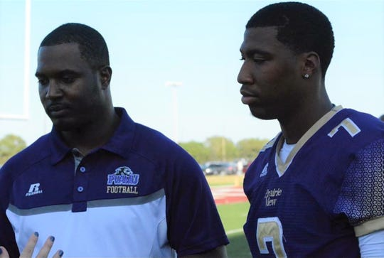 Willie Simmons (left) first worked as the head coach at Prairie View A&M from 2015-17. His quarterback Trey Green was one of the most prolific passers in the nation in 2015.