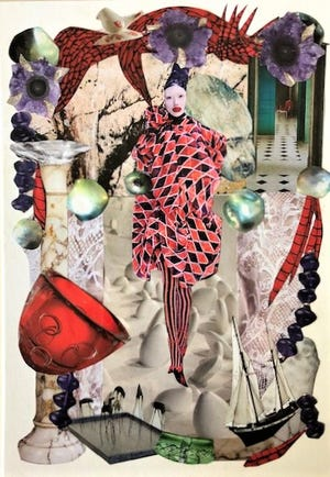 """Original collage by Quentin Walter, titled """"Red McQueen."""""""