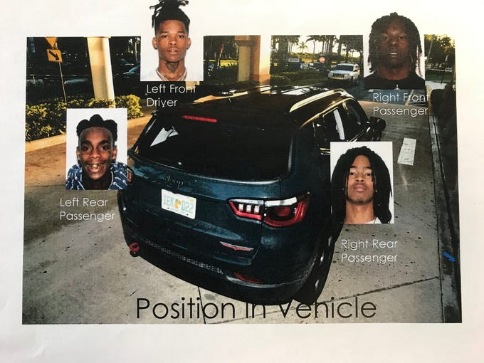 Prosecutors showed slides with Miramar police investigation photos at Cortlen Henry's Aug. 23, 2019, Arthur Hearing where they tried to prove he should be held without bail. This image shows the seating of the four men in the vehicle with Henry driving, Anthony Williams in the front passenger, Demons in the rear left and Christopher Thomas Jr in the rear right.