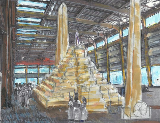 Scott Johnson's sketch depicts what the main hall of the Vero Beach power plant might look like as a performance space with set pieces inspired by Waldo Sexton's lost pyramid and driftwood obelisks.