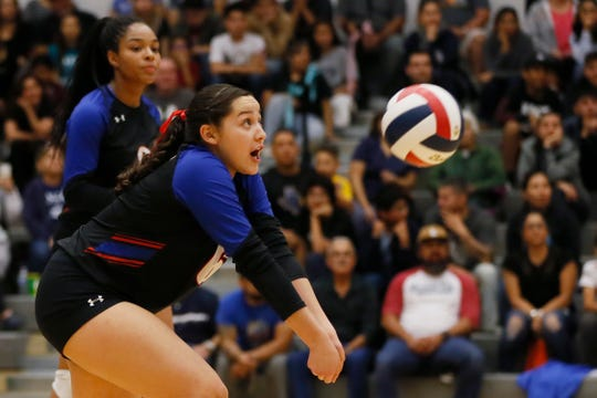Americas' Caitlyn Pena during the game against Pebble Hills Tuesday, Oct. 22, at Pebble Hills High School in El Paso.