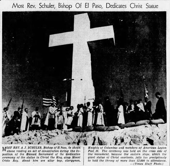 Oct. 29, 1939, First pilgrimage to the statue to Christ the King atop Mount Cristo Rey.