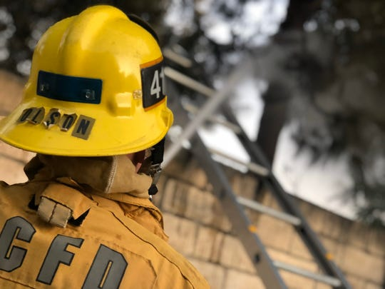 Crews from Ventura County Fire quickly put out a tree fire behind a home in Simi Valley Tuesday night.